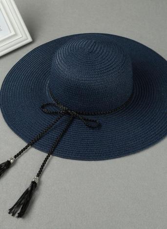 Estate donne di modo Cappello floscio di paglia Tesa larga nappa pieghevole Sun  Beach di vacanza 25d8f18acbfa