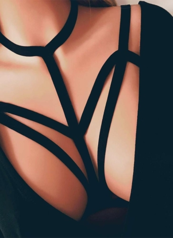 Женское сексуальное эластичное женское бельё Кейдж бюстгальтера Эластичный фетиш Бондаж пояс Полосатый ремень для верхней части тела Черный