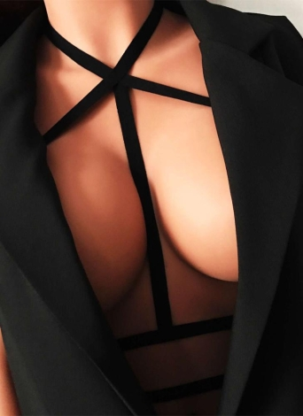 Sexy Lingerie Gai Strappy elástico Bondage Belt Body Bra