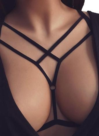 Sexy Cross Cut Out Упругие ремень Стринги женщин Интимная