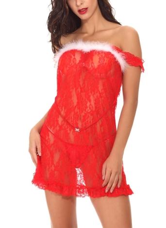 Sexy Women Lingerie Sheer Lace Mesh Fur Christmas Babydoll Erotic Costume Pijamas de dormir