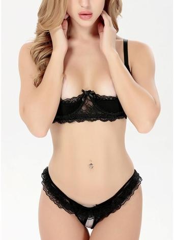 Frauen Dessous BH Set Crotchless Erotische Unterwäsche Intimates Low Waist Briefs