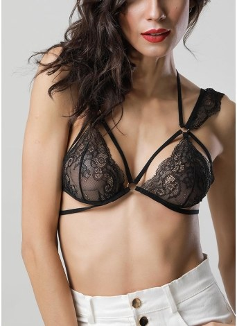 Women Sheer Lace Bra Strappy O-ring Elastic Wireless Unpadded Cage Lingerie Bralette
