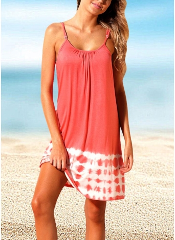 Женщины Summer Cover Ups Strappy Back Tie Dye Backless Bikini Cover Beachwear