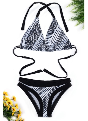 Bikini Push Up Backless a righe