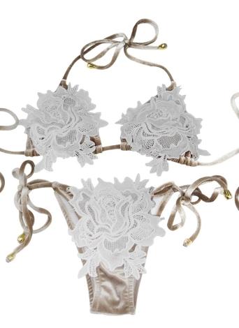 Vestido de banho de veludo feminino Halter Crochet Lace Tie Vestido de banho sem fio Bikini Beach Wear