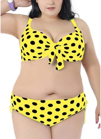 Completo bikini a pois con nodo a pois