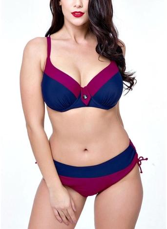 Conjunto de bikini triangular de dos piezas y talla grande Colorblock con aros