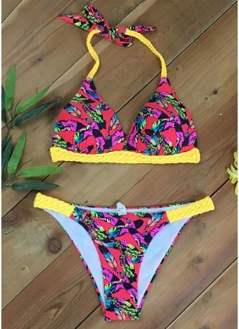 Mulheres Swimwear Floral Print Padding Bikini Set Traje de banho Trajes de banho Two Piece