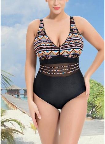 Women Plus Size One Piece Swimsuit Swimwear Tribal Print Mesh Bathing Suit