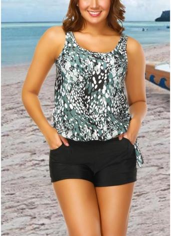Femmes Plus Size Push Up Maillot de Bain Tankini Maillot de Bain Rembourré Imprimé maillot de bain