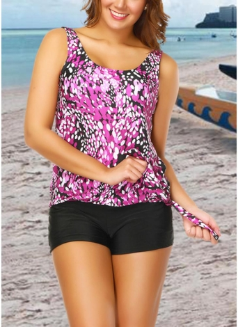 Frauen plus Größe Push Up Tankini Badeanzug gepolsterte Bademode gedruckt Badeanzug
