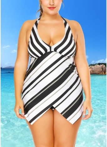 Ensemble bikini asymétrique à ourlet asymétrique et grande taille