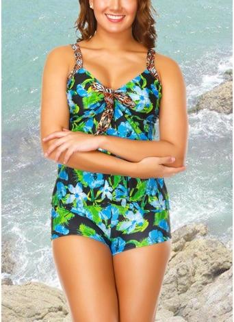 Shorts de Top Floral Tankini Strap Conjunto de banho