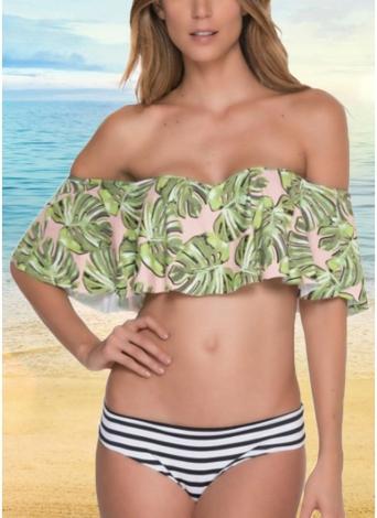 Off The Shoulder Ruffles - Ensemble de bikini à imprimé feuille et rayures
