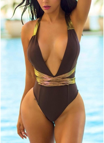 Contrast Color Metallic Plunging Halter Backless One-piece Swimsuit