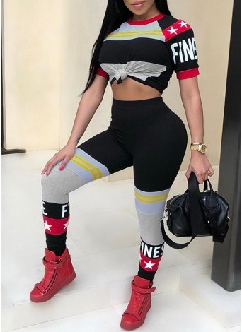 Femmes Sports Deux Pièces Ensemble Lettre Imprimer Haute Taille Moulante Combinaison Combinaison