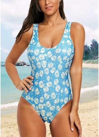 05aa86873c5b6c Einteiliger Damen Badeanzug mit offenem Rücken High Cut Contrast Print