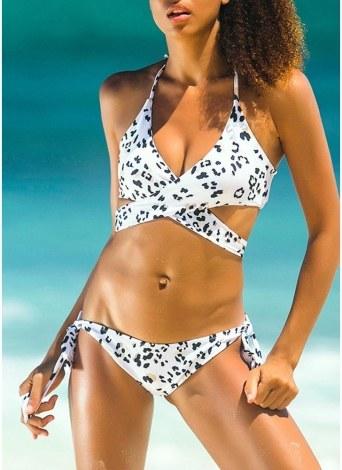 Women Swimwear Halter Bandage Backless Padded Wireless Swimsuit Beach Wear Bikini Set