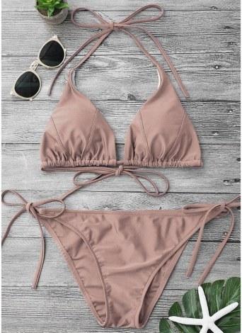 Bikini con cinturino in tinta unita