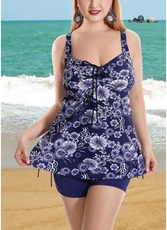 Conjunto de Bikini de lados traseros con cordón y estampado floral Plus Size