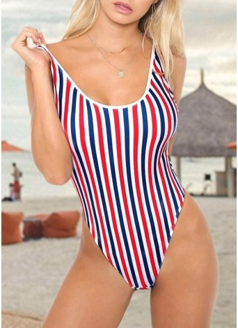 Women One Piece Swimwear  Backless Padded Swimsuit Beach Wear