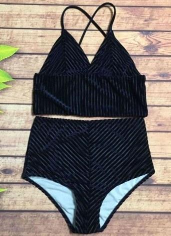 Solid High Waist Velvet V-Neck Bikini Set