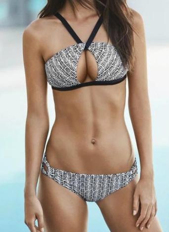Bikini donne Set Zebra Print Scontornabile cinghia regolabile vita bassa imbottito due pezzi costumi da bagno nero