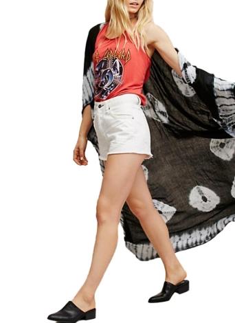 Stampa Chiffon Longline Kimono Loccato Contrasto