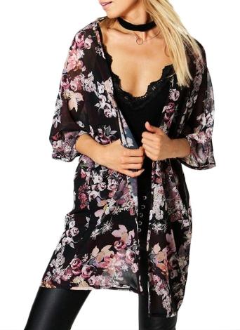 Modo Chiffon Cardigan allentato Front Floral Print Kimono Donna Vintage