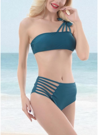 Frauen eine Schulter aushöhlen Seitenbandage hohe Taille gepolsterte drahtlose zwei Stück Bikini Set