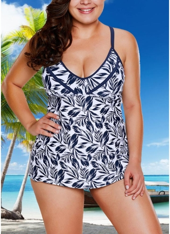 Women Plus Size Swimsuit Two Piece Set Plunge V Leaves Print Wirless Padded Cross Over Strap Sexy Swimwear
