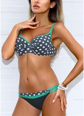 Bikini a due pezzi con motivo a vita bassa e stampa a vita bassa