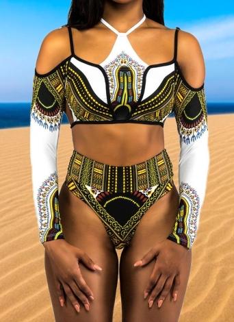 Sexy Frauen Plus Size Hohe Taille Long Sleeves Bikini Set 2 Stücke Badeanzug