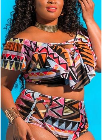 Sexy Women Plus Size Bikini Set Ruffles Impressos Hollow Out Push Up Swimwear Swimwear Two Piece