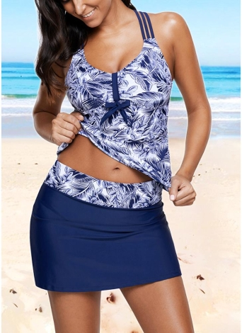 Sexy Frauen Print Riemchen Gepolsterte Top Open Back Hohe Taille Skirted Tankini Set