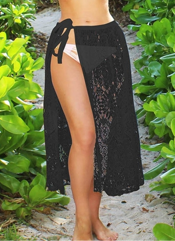 84f39ff526 Women Beach Sarong Sheer Crochet Lace Chiffon Tie Split Hollow Out Sexy  Bikini Cover Up Skirt