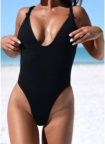 Sexy Women com nervuras Knotted Backless Monokini One Piece Swimsuit Deep V Neck High Cut Swimwear Beachwear