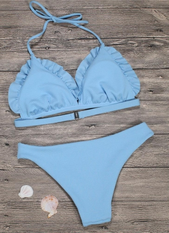 Frauen Bikini Set Push Up Bademode Badeanzug Rüschen Low Waisted gepolsterte zweiteilige Badeanzug Beach Wear