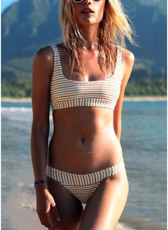 Sexy Frauen Brazilian Bikini Set Badeanzug Striped Print Bademode Padded Beach Wear Zweiteiler Badeanzug rot
