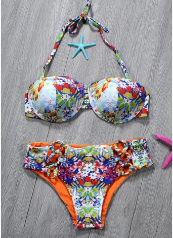 Mulheres Conjunto de biquíni de duas partes Revestimento floral colorido Halter Revestimento acolchoado Hollow Out Swimwear de baixa cintura sexy