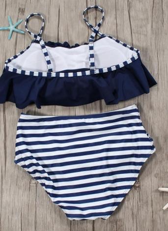 Frauen Bikini Set Rüschen hohe Taille geraffte gepolsterte drahtlose zweiteilige Badeanzug Bademode
