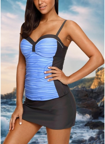 Frauen Bikini Set Badeanzug Push Up Bademode Kontrast Beach Wear Badeanzug Plus Größe Tankini Rock Set