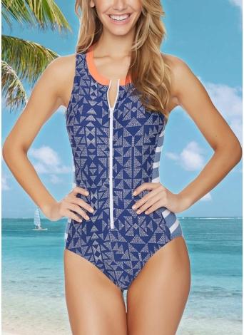 Frauen-Badeanzug-Badebekleidungs-geometrischer Streifen-Reißverschluss-Kontrast-Bodysuit-Strand-Abnutzungs-Badeanzug