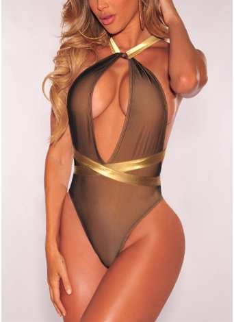 Plunge V Contraste Straps Bandage Open Back Sexy One Piece Swimsuit
