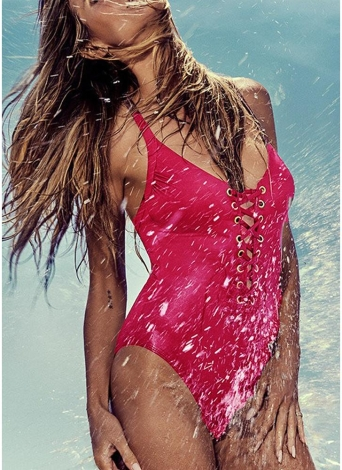 Plunge V-Ausschnitt Crisscross Bandage Solid Einteiliger Badeanzug