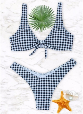 Women Gingham Bikini Set Knot Front High Leg