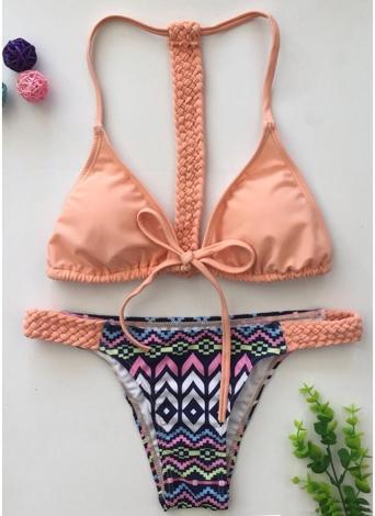 Bikini donna con stampa vintage intrecciata a triangolo cravatta davanti T dietro Tanga