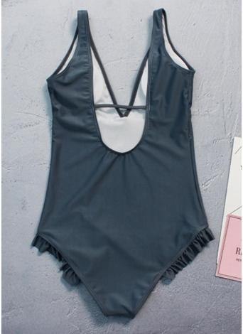 Tiefes V-Ausschnitt Backless Monokini Damen Einteiler