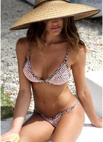 Bikini Leopard da donna Set Imbottitura Strappy Wireless Backless